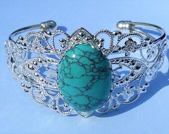 Silver Bangle Bracelet - Turquoise Bracelet - Silver and Turquoise Bracelet - Cuff Bracelet - Bangel Bracelet - Turquoise Bangle Bracelet