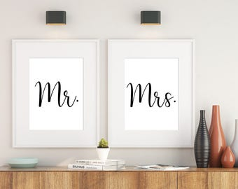 Printable Mr & Mrs, Mr and Mrs poster, Mr and Mrs signage, Mr and Mrs sign, Mr and Mrs art print, Mr and Mrs bedroom art print, 8X10 11X14