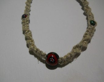 Hemp Necklace with Glass Flower Beads