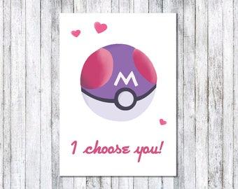 Pokemon: I choose you! - Masterball (Birthday/Anniversary/Valentine's/Blank) greeting card
