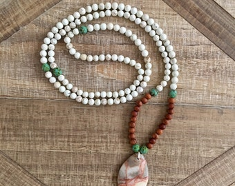Beach Resort inspired Mala Necklace. Magnesite, Bayong wood and a Rediline puffed marble. Beach jewelry, resort jewelry, maka necklace