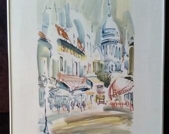 "Marius Girard, Original Ink wash, Paris 1985, 26"" X 20"""