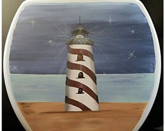 Lighthouse at Night Round Solid Wood Toilet Seat Made in USA
