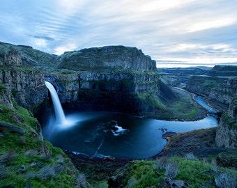 waterfall wall art, Palouse Falls, Wall art, photograph, waterfall picture, landscape Washington stars, caynon