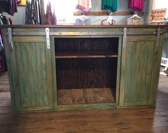 Sliding barn door cabinet/console/buffet