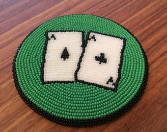 Pocket Aces Beaded Coaster