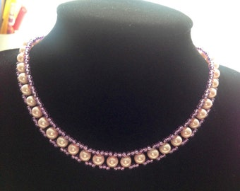 Purple and Pale Pink Pearl Beaded Necklace
