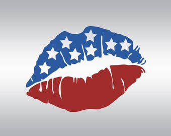 Lip Lips american flag SVG Clipart Cut Files Silhouette Cameo Svg for Cricut and Vinyl File cutting Digital cuts file DXF Png Pdf Eps