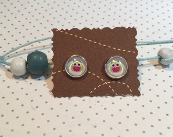 OWL earrings cabochon