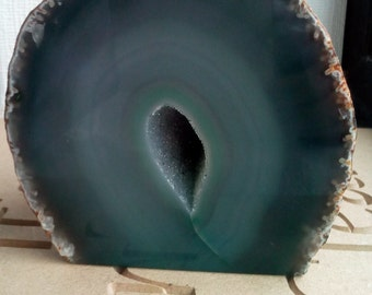 Grey and Teal Agate Geode Crystal Natural Healing
