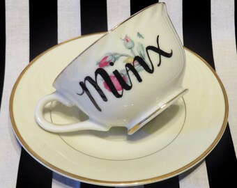 "FREE SHIPPING - Cheeky China, ""Minx"" Tea Cup & Saucer"