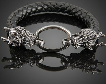 New hard leather dragon bracelet