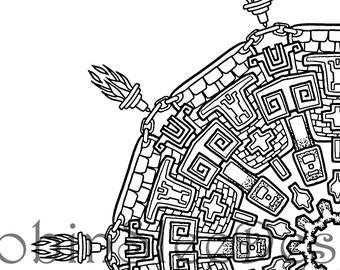 Aztec Coloring Page Instant Download JPEG And PDF Print To Frame