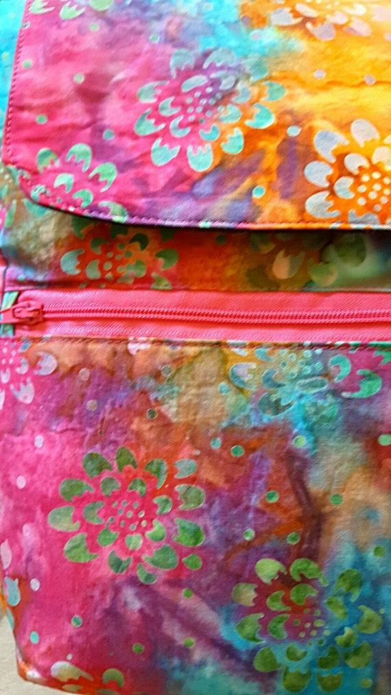 Tye Dye Bohemian Print Crossbody Bag - Gift for Her - Snap Messenger - Small Purse - Day out Bag - Bohemian and Black
