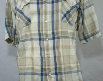 Plains Western Wear Short Sleeve Mens Pearl Snap Shirt XL Cowboy Rodeo Country