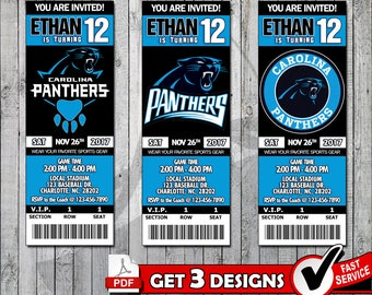 Football Carolina Panthers Printable Invitation Tickets - Digital files only