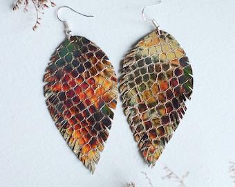 Long Leather Earrings- Leather Earrings- Dangle Earrings- Recycled Earrings- Boho Chic Earrings- Feather Earrings- Silver Earrings- Glitter