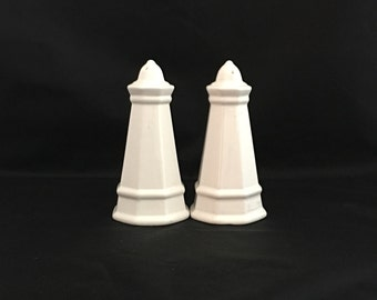 Pfaltzgraff Heritage Salt & Pepper Shakers, White Ironstone, Retro Kitchen and Dining