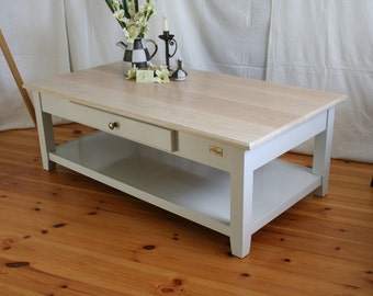 """Isegrimm"" coffee table with shelf in vintage white"