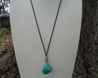 Turquoise Chunk and Leather Necklace