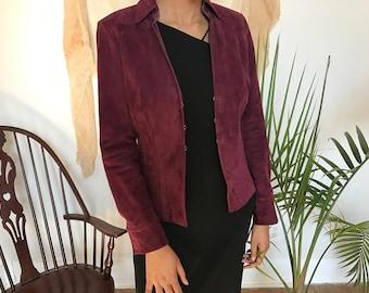 Burgundy Red Suede Blazer   Purple Vintage Leather Jacket   Zip Up Suede Coat
