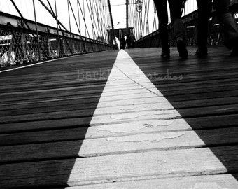 Close-up of meridian on Brooklyn Bridge; New York City; black and white photography