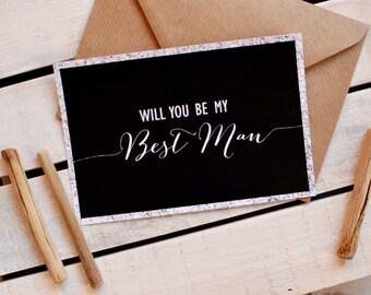 Will you be my best man card, best man invitation, Rustic wedding invitation, Asking best man, Groomsmen card, Page boy card, Black white