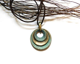 Circles pendant necklace bronze patina green gray