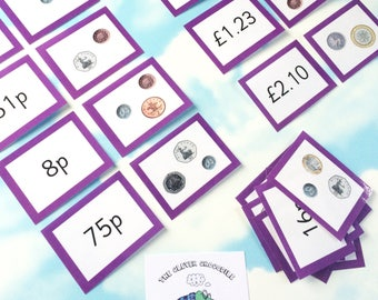 Money flash cards, British coins, KS2, KS1, Learning cards, Teaching resource, Educational cards, Matching cards, number cards
