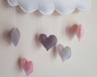 Baby mobile, baby girl mobile, Pink heart mobile, Cloud baby mobile, heart cloud baby nursery mobile grey pink white