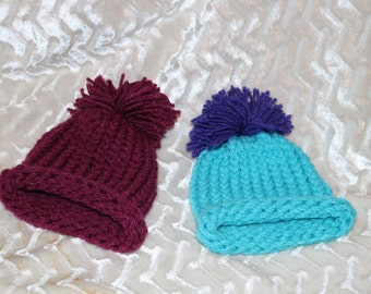 Hand knitted newborn hats