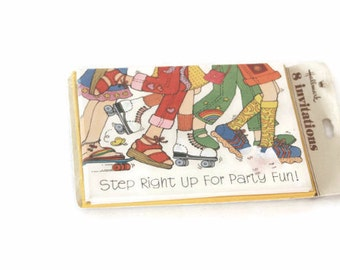 Vintage Girl Birthday Party Invitations, Roller Skating Invitations, Party Invites, Retro Birthday Party, Party Invitations,