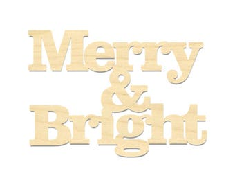 Merry And Bright Sign- Christmas Sign- Christmas Holiday Decor
