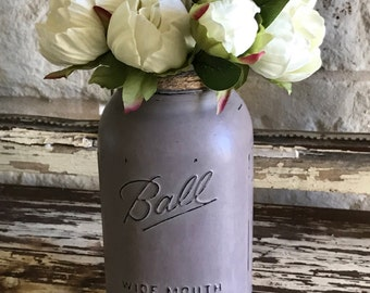 Mason Jar, Artificial Flower Arrangement, Painted Mason Jar, Artificial Flowers, Half Gallon Jar, Rustic Mason Jar,