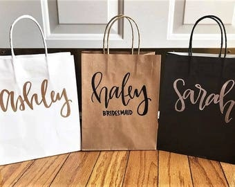 Custom name gift bags-bridesmaid gift bags, groomsman gift bags, wedding party gift bag, hand lettered, wedding gift bags, custom gift bag