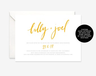 Digital File Wedding Invitation Template, Minimalist Wedding Invitation, Printable Wedding Invitation, Calligraphy Hand Lettering Invite