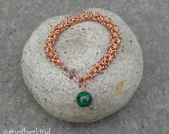 Copper Turkish Bracelet with Malachite Charm OOAK Chainmaille