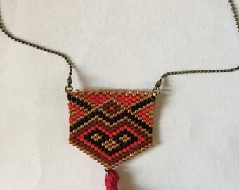 Necklace pearls miyuki ethnic pattern