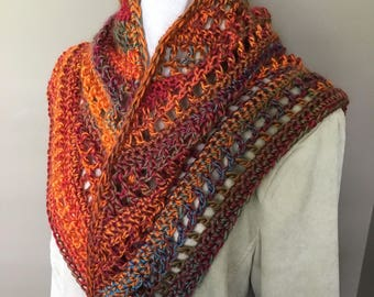Multi- Color Triangular Crochet Scarf, Acrylic Multi Color Crochet Scarf, Triangular Crochet  Neck Warmer, Crochet Neck Warmer,