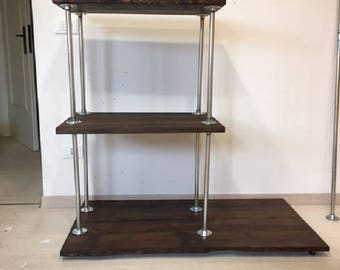 Garment closet hanger style industrial-larch wood stained with Walnut stain