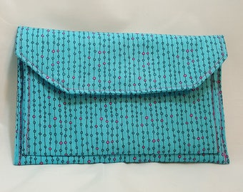 Blue pink clutch  - Cotton clutch - Purse clutch - 3 pocket clutch - Cotton 3 pocket clutch - Evening bag