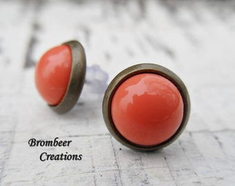 Small Stud Earrings, studs, salmon, korallfarben Stud Earrings pink stone, studs earrings, birthday gift, mother's day