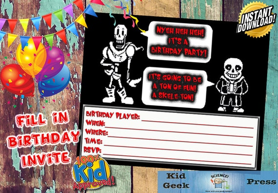 Undertale Fil In Birthday Invitation Featuring Sans Amp Papyrus