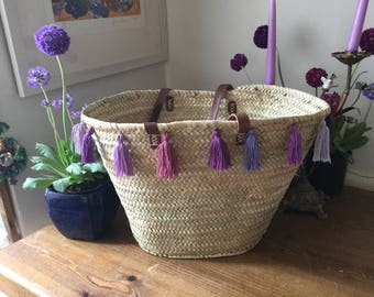 French shopping basket with hand made tassles