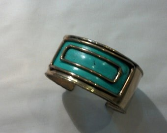 Brass and turquoise painted cuff bracelet