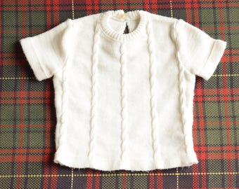 70's / baby / short sleeved sweater twisted / France / Crylor / white