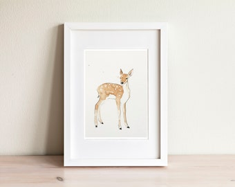 Fawn watercolor illustration - handmade
