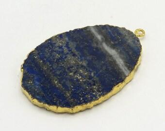Blue Lapis Oval Shaped Flat Pendant