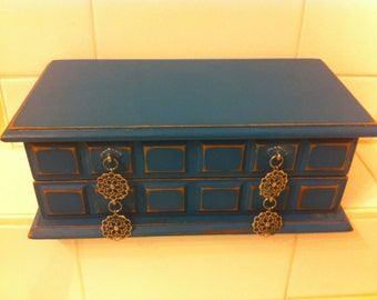 Vintage Wooden Jewelry Box - Blue