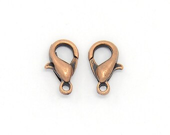 Copper Lobster Clasp 6mm x 10mm QTY 100 (C-300)